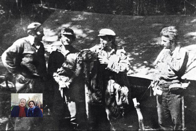 PHOTO EXCLUSIVE PARIS MATCH. Le Che (fumant la pipe), Régis Debray, alias Danton (à droite), et d'autres membres de l'Armée de libération nationale de Bolivie, en 1967. En médaillon, Régis et Laurence Debray à Paris en 2015.