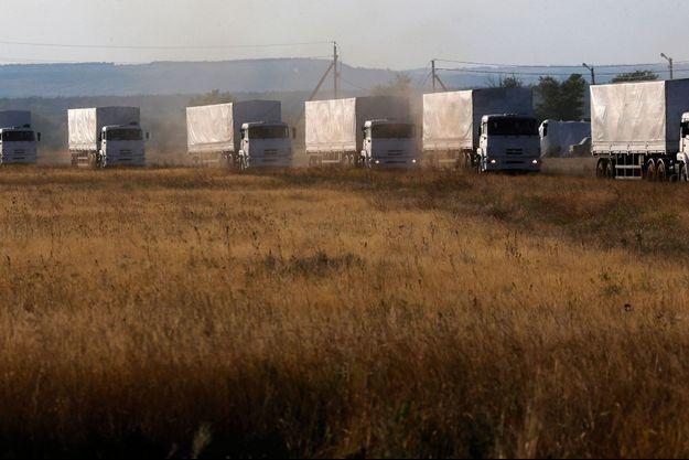 Le convoi humanitaire russe le 21 août.