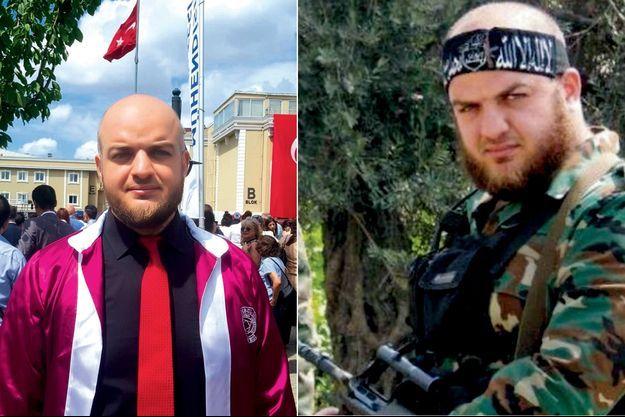 A g. : l'« étudiant » Majdi Nameh s'exhibe fièrement pour l'obtention de son diplôme de sciences politiques, en Turquie, en juin 2019. A d. : Déserteur de l'armée syrienne et porte-parole de Jaych Al-Islam jusqu'en 2017, Nameh aurait pris part à des enlèvements et à des actes de torture.