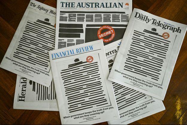 L'ensemble des Unes de la presse australienne étaient caviardées lundi matin en signe de protestation contre la censure.