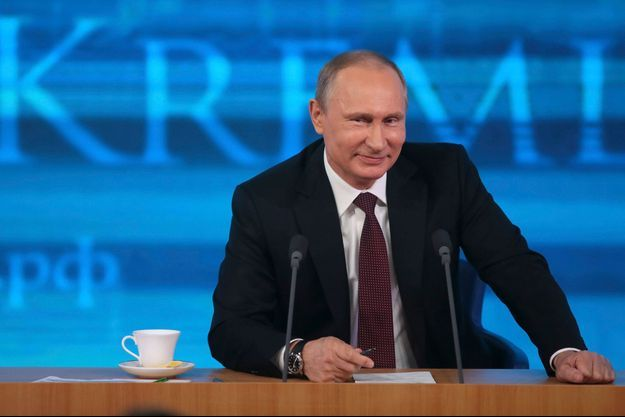 Vladimir Poutine ce jeudi, lors de sa grande conférence de presse télévisée à Moscou.