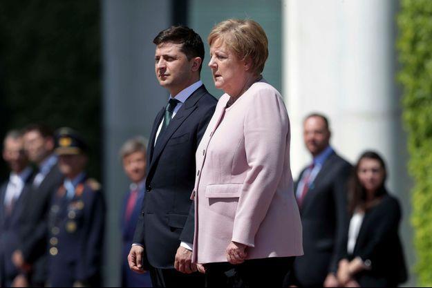 Angela Merkel et le nouveau président ukrainien, Volodymyr Zelensky, mardi 18 juin, à Berlin.