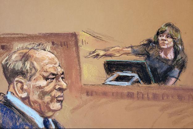 Rosie Perez pointe du doigt Harvey Weinstein lors du procès de ce dernier à New York.