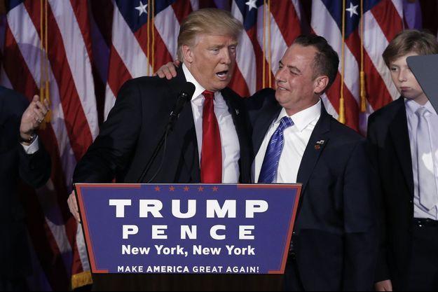 Donald Trump et Reince Priebus le soir de la victoire à New York.