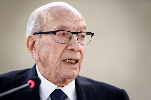 Le président Essebsi en février 2019 à Genève.