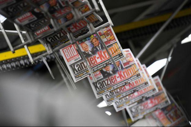 """Des exemplaires du journal allemand """"Bild"""" qui fait sa Une sur les élections."""
