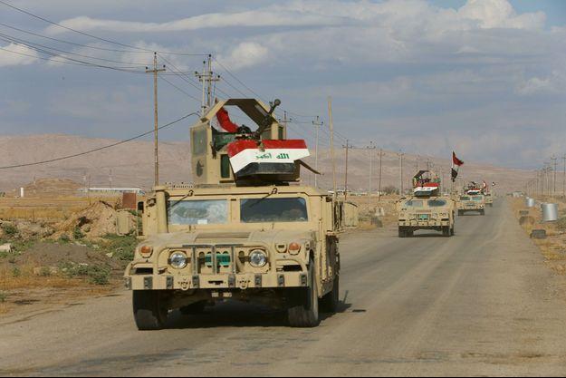 Des véhicules de l'armée irakienne à Qaraqosh, le 2 novembre dernier.
