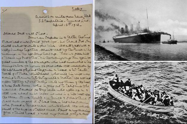 La lettre écrite par Marion Wright, une vue tu Titanic depuis Belfast et un canot de sauvetage photographié depuis le Carpathia, où la jeune femme a trouvé refuge après le drame.
