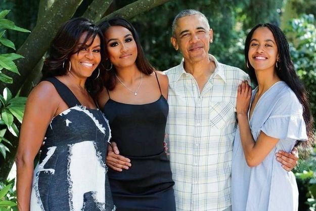 Michelle, Sasha, Barack et Malia, le 28 novembre 2019.