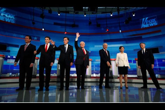 Rick Santorum , Rick Perry, Mitt Romney, Newt Gingrich, Ron Paul, Michele Bachmann et Jon Huntsman.
