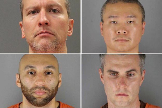 Derek Chauvin, Tou Thao, Thomas Lane et J. Alexander Kueng, les quatre policiers mis en examen pour la mort de George Floyd.