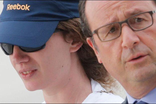 François Hollande et Isabelle Prime à la base aérienne de Villacoublay, le 7 août.