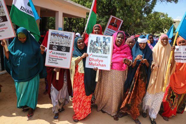Manifestation contre les shebab le 2 janvier 2020 en Somalie.