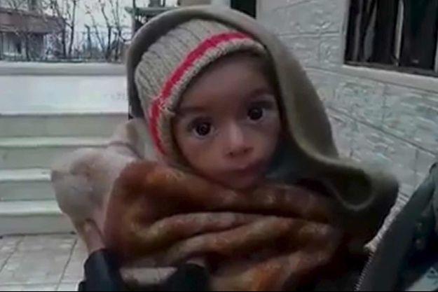 Un enfant en situation de malnutrition, présenté sur les réseaux sociaux comme ayant été photographié le 5 janvier à Madaya.