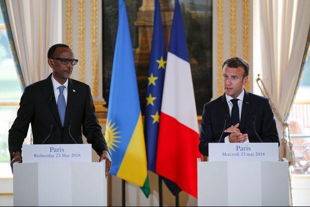 Paul Kagame et Emmanuel Macron à l'Elysée, mercredi.