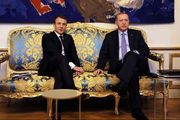 Emmanuel Macron et Recep Tayyip Erdogan à l'Elysée, vendredi.