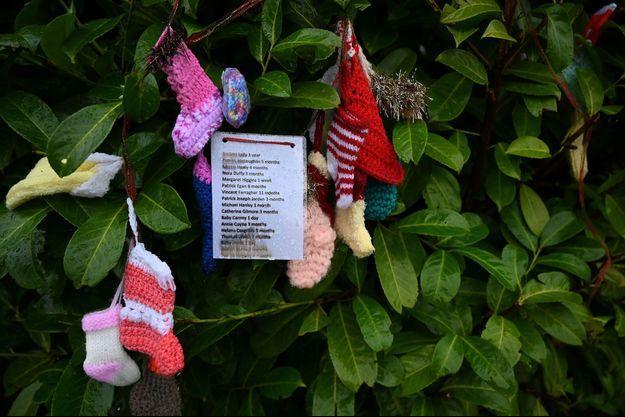 """Des noms de victimes accrochés à un arbre au cimetière des Tuam où les corps de 796 bébés ont été découverts sur le site de l'ancienne """"maison mère et bébé"""" Bon Secours."""