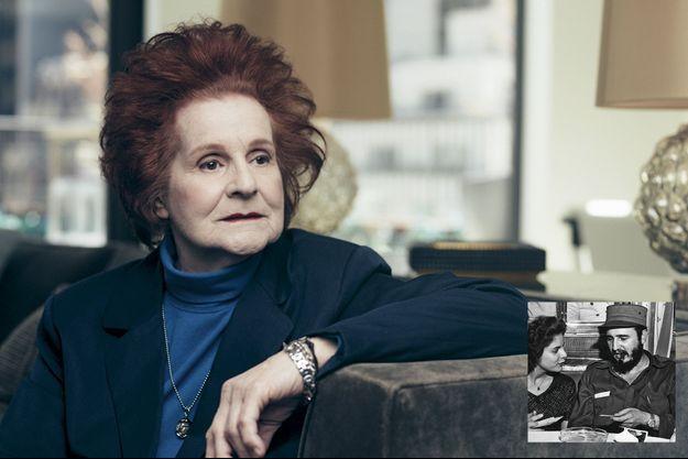 """Marita Lorenz, 76 ans, dans le penthouse de l'hôtel The Quin, à Manhattan. En médaillon: sa première rencontre avec Castro, en janvier 1959, à bord du """"Berlin""""."""