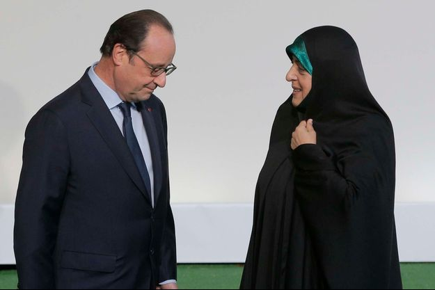 François Hollande et la première vice-présidente de la République islamique d'Iran, Masoumeh Ebtekar.