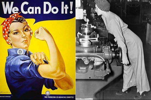 A gauche : le dessin de «Rosie the riveter». A droite : Naomi Parker à l'usine d'Alameda, en 1942.