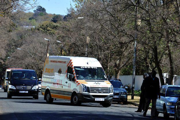 L'ambulance qui l'a reconduit à la maison ce dimanche.