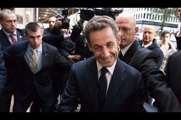 Nicolas Sarkozy à son arrivée à la conférence, à New York.