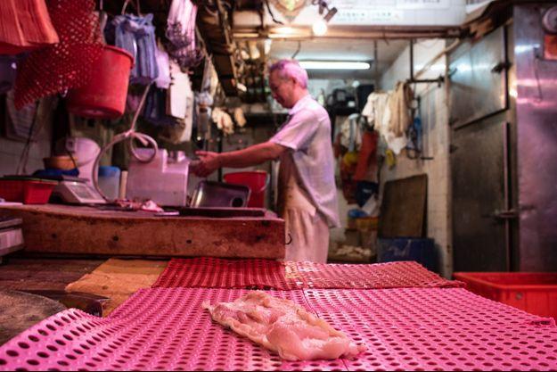 Un morceau de viande de porc à Hong Kong, le 1er juin 2019.