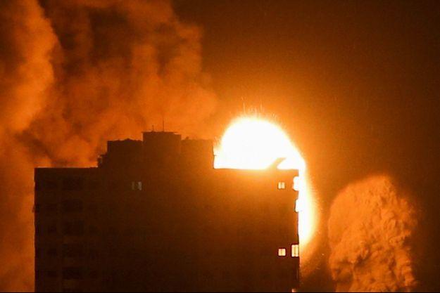 Une frappe israélienne à Gaza, le 17 mai.