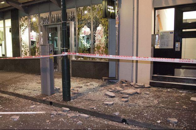 Des débris d'un immeuble à Wellington après le séisme.