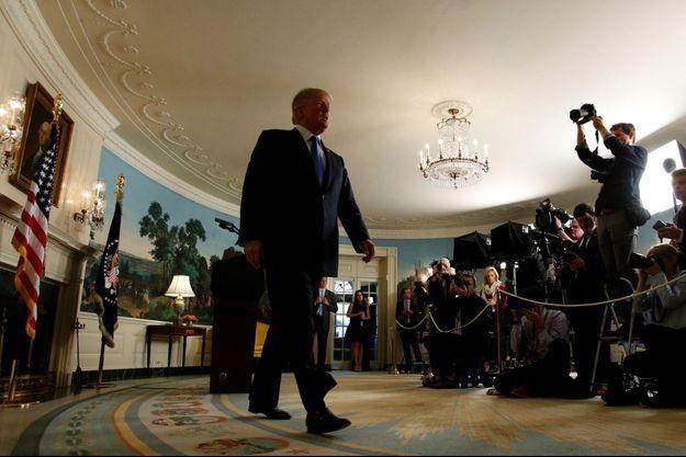 Donald Trump vendredi après sa déclaration sur le nucléaire iranien