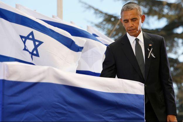 Barack Obama lors des obsèques de Shimon Peres.