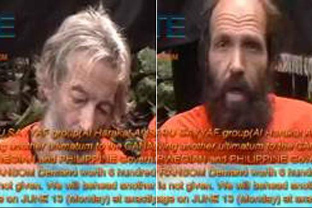 Les deux otages aux mains du groupe islamiste Abou Sayyaf, aux Philippines.