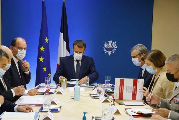 Conseil de défense exceptionnel à l'Elysée après la révélation du scandale Pegasus, le 22 juillet 2021.