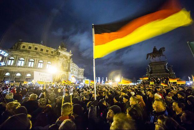 Une manifestation du mouvement Pegida à Dresde.