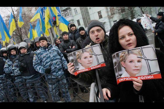 Une manifestation de soutient à Ioulia Timochenko en janvier dernier à Kiev.