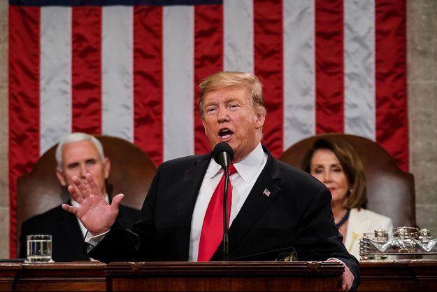 Donald Trump lors de son discours de L'Etat de l'Union, mardi, à Washington.