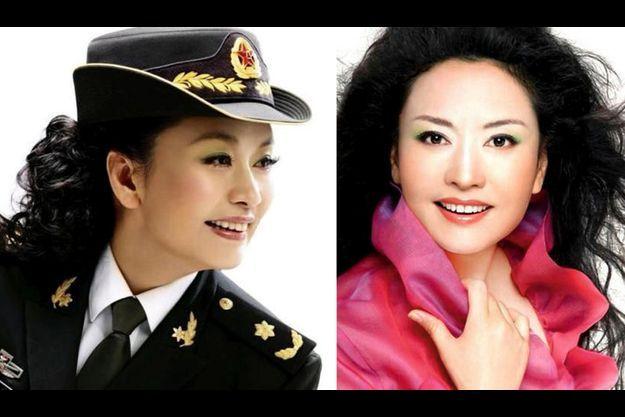 Grâce à son talent de chanteuse qu'elle a d'abord mis au service du moral des troupes, Peng Liyuan est devenue générale de division. A droite, Peng Liyuan version star.