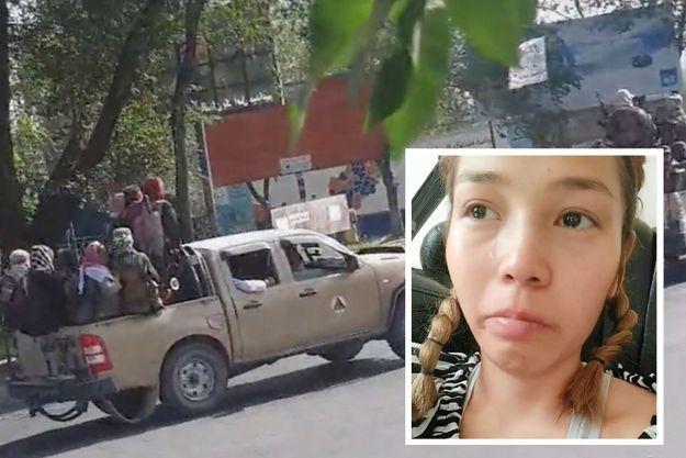 Les talibans dans la rue de Kaboul, le 16 août 2021. Capture écran de la vidéo de la jeune afghane.