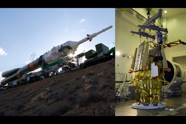 A gauche, le leanceur Soyouz. A droite, la sonde Phobos-Grunt.