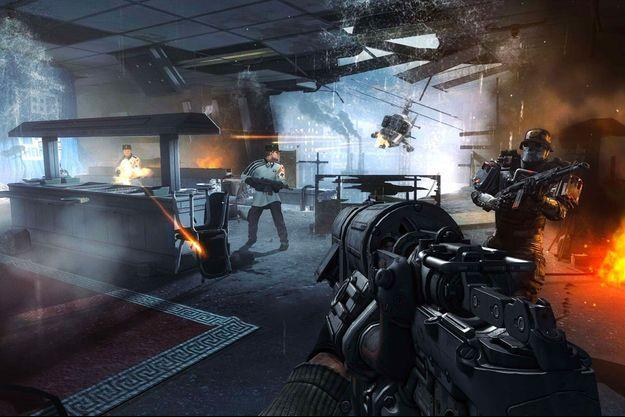 """Capture d'écran du jeu """"Wolfenstein : The New Order"""", sorti en 2014. Ce jeu se déroulait dans un univers uchronique, où le joueur incarnait un résistant à un régime nazi sorti victorieux de la Seconde Guerre mondiale."""