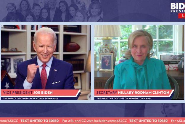 Hillary Clinton a apporté son soutien à Joe Biden, le 28 avril 2020.