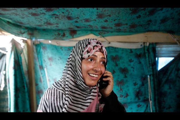 Tawakul Karman ce matin, lorsqu'elle apprend qu'elle est lauréate du prix Nobel de la Paix.