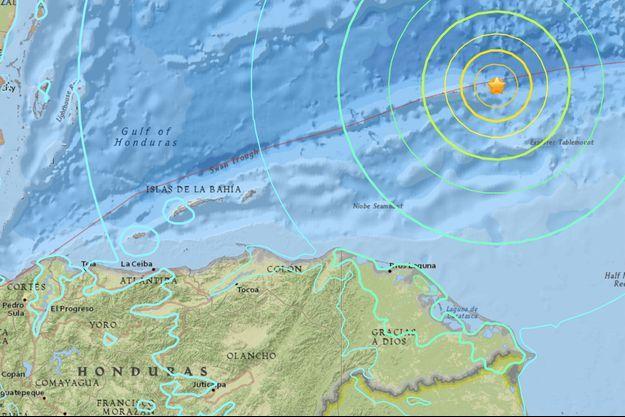 Épicentre du séisme, en pleine mer des Caraïbes