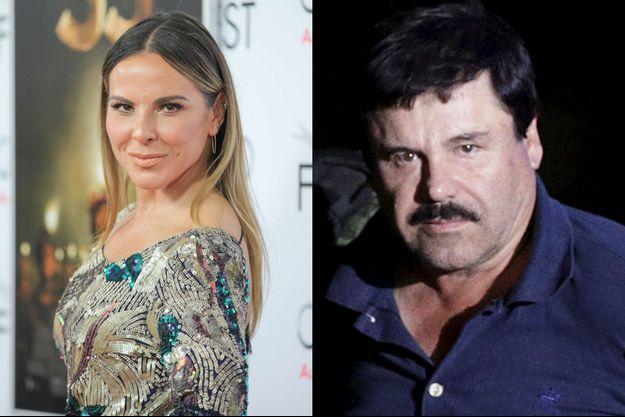 Kate del Castillo, photographiée en novembre 2015, et El Chapo, photographié à son arrestation début janvier 2016.