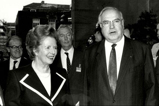 Margaret Thatcher et Helmut Kohl en 1990.