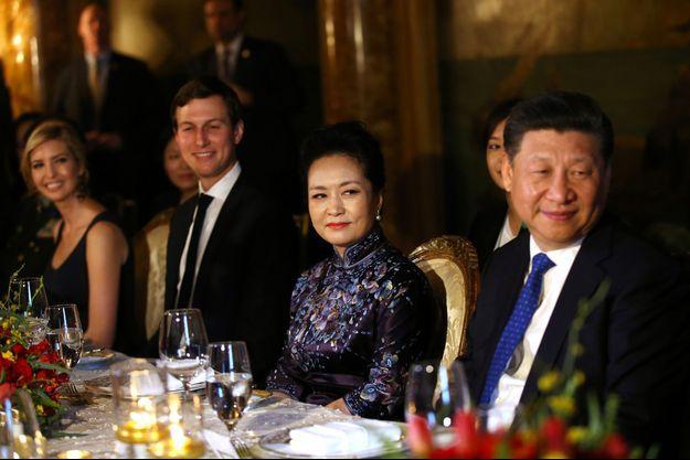 Ivanka Trump, son mari Jared Kushner et le couple présidentiel chinois.