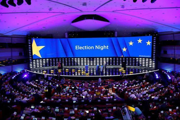 Le Parlement européen à Bruxelles, dimanche, à l'occasion de la soirée électorale.