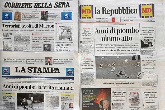 Les unes de la presse italienne consacrées à l'affaire.