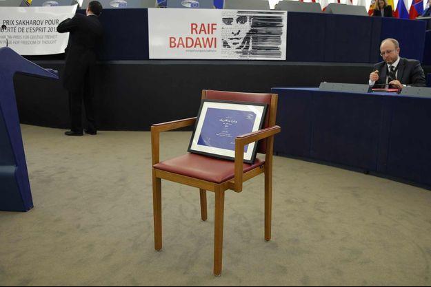 Raif Badawi n'était malheureusement pas là pour recevoir son prix au Parlement européen.