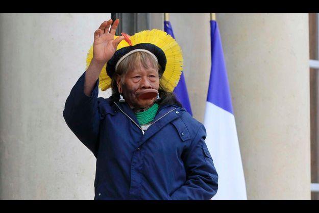 Le chef Raoni à l'Elysée le 29 novembre.